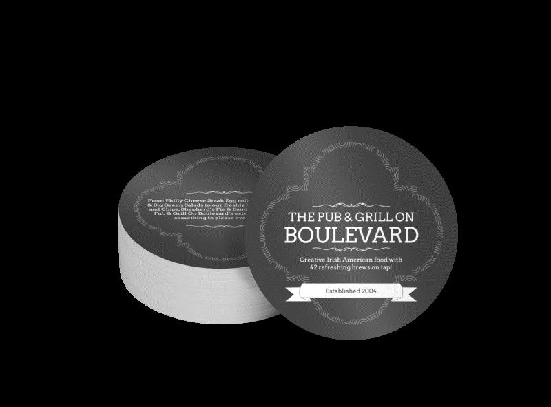 نمونهی زیرلیوانی تبلیغی رستوران Boulevard Pub & Grill