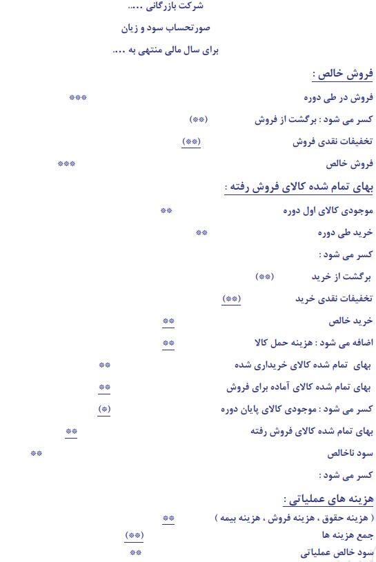 جدول صورت سود و زیان
